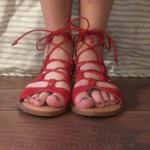 NWOT Red Suede Lace-Up Sandals